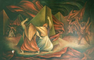 Huelga y Masacre, 1954. Mural de Miguel Alandia Pantja en la Federación Sindical de Trabajadores Mineros-LaPaz